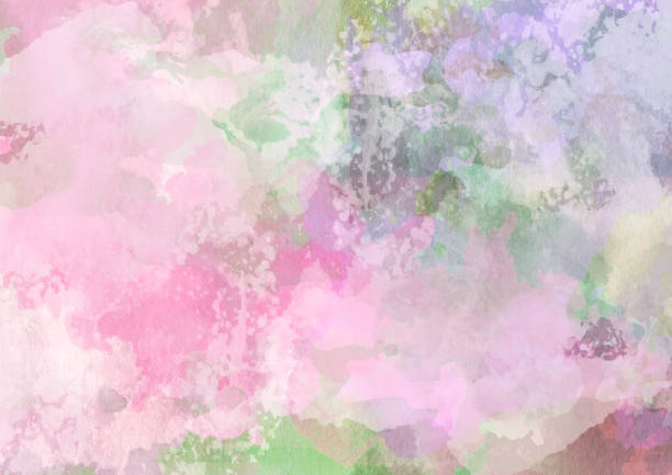 Floral abstract summer landscape, aquarelle or watercolor painting, abstract nature background, pink and green pastel colors artwork. stock photo
