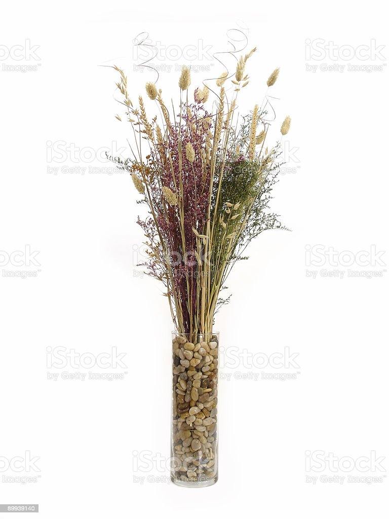 Floral Arrangement In Rock Vase royalty-free stock photo