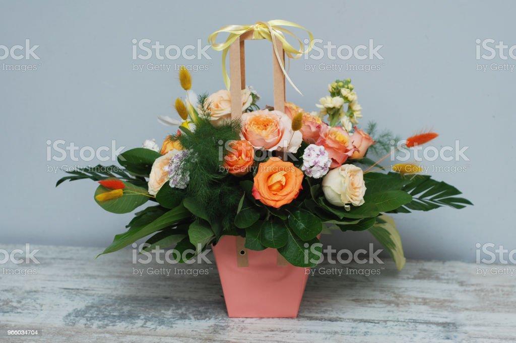 Floral Arrangement of Autumn Orange Flowers.Colorful Roses Bouquet. - Стоковые фото Абстрактный роялти-фри