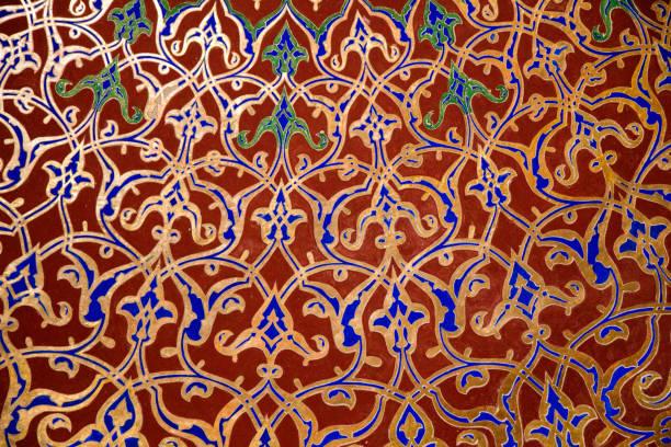 blumenkunst muster beispiel der osmanischen zeit - türkische fliesen stock-fotos und bilder