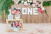 istock Floral Backdrop for One year old child 1213436637