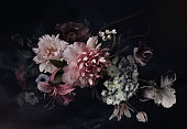 istock Floral background. Vintage flowers. 1206819070