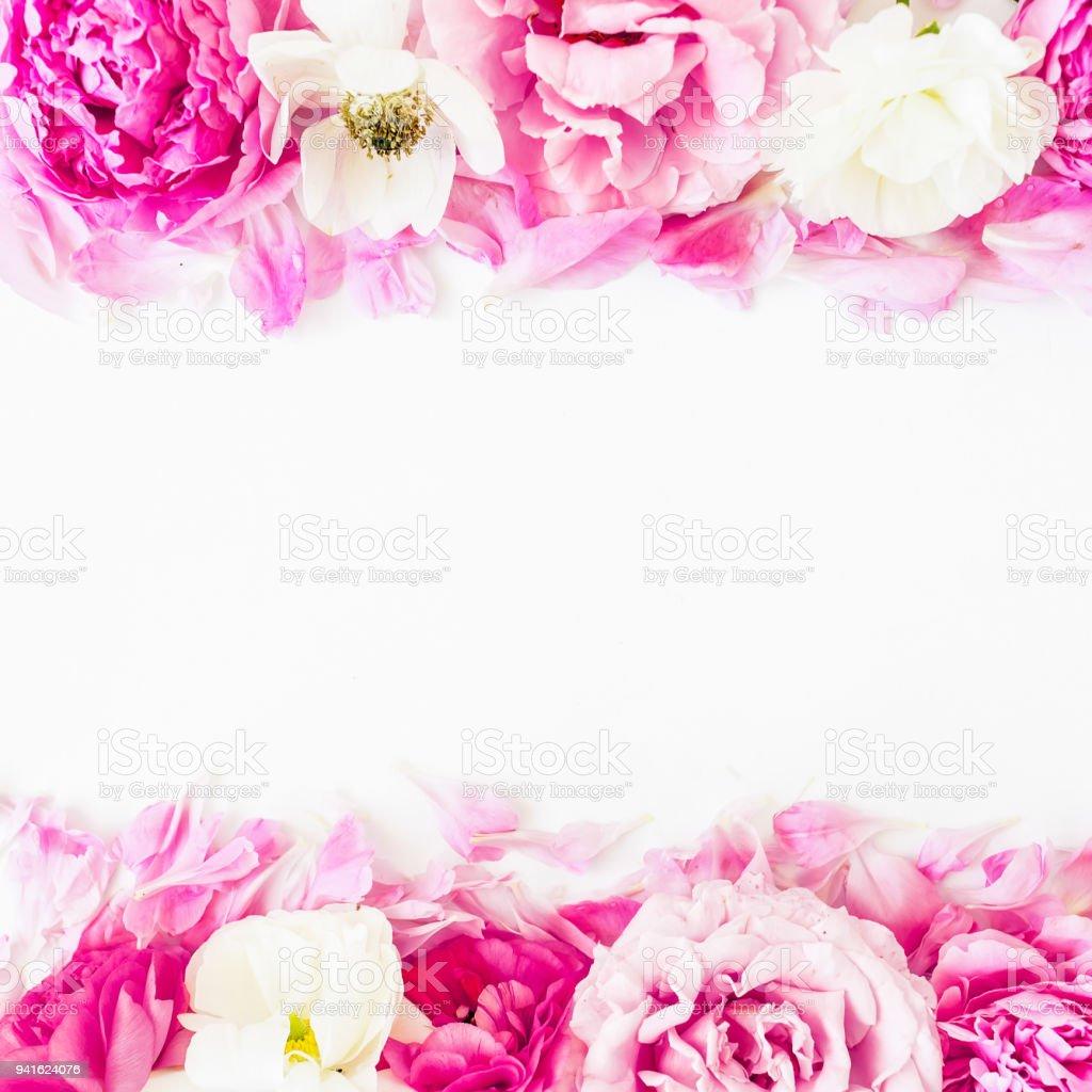 Floral Border Frame Made Of Pink Roses On White Background