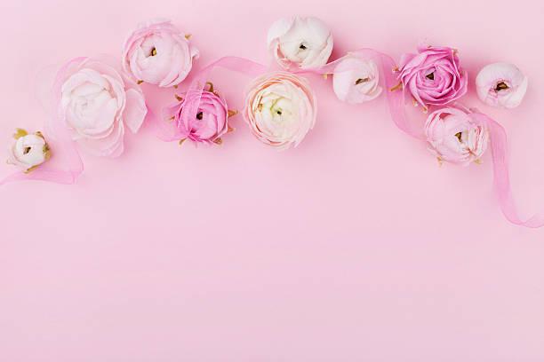 floral border in flat lay style on pink desk. copyspace. - schöne bilderrahmen stock-fotos und bilder