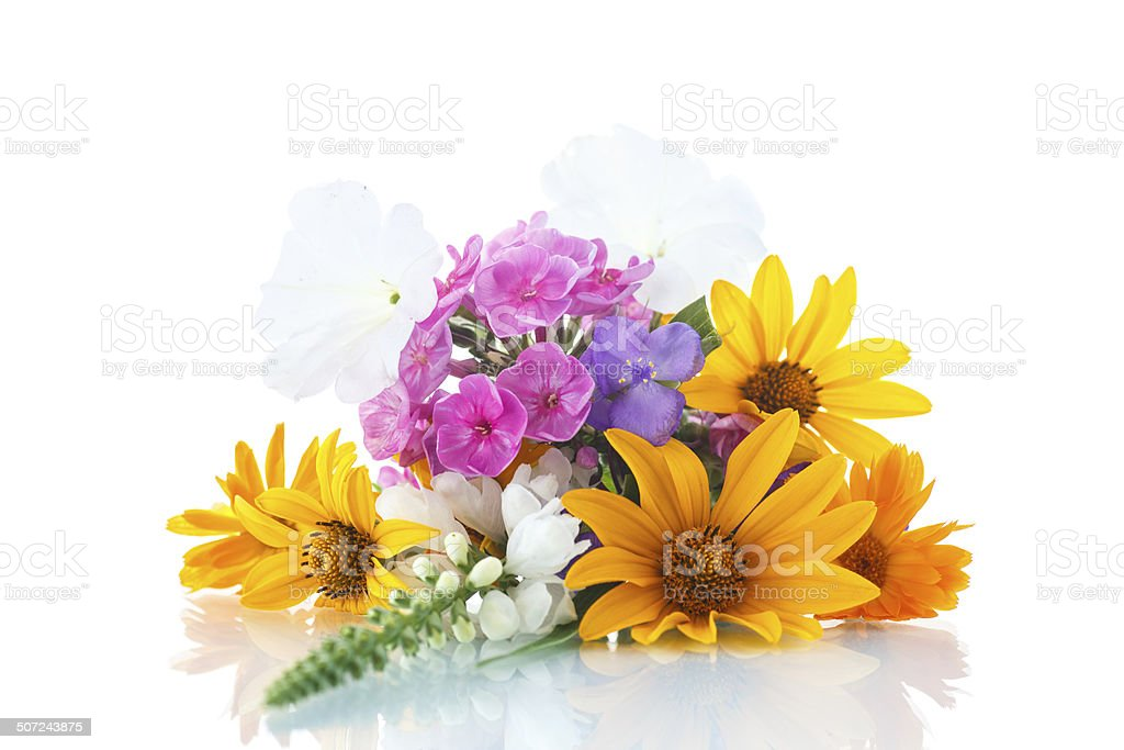 floral bouquet of different flowers stock photo
