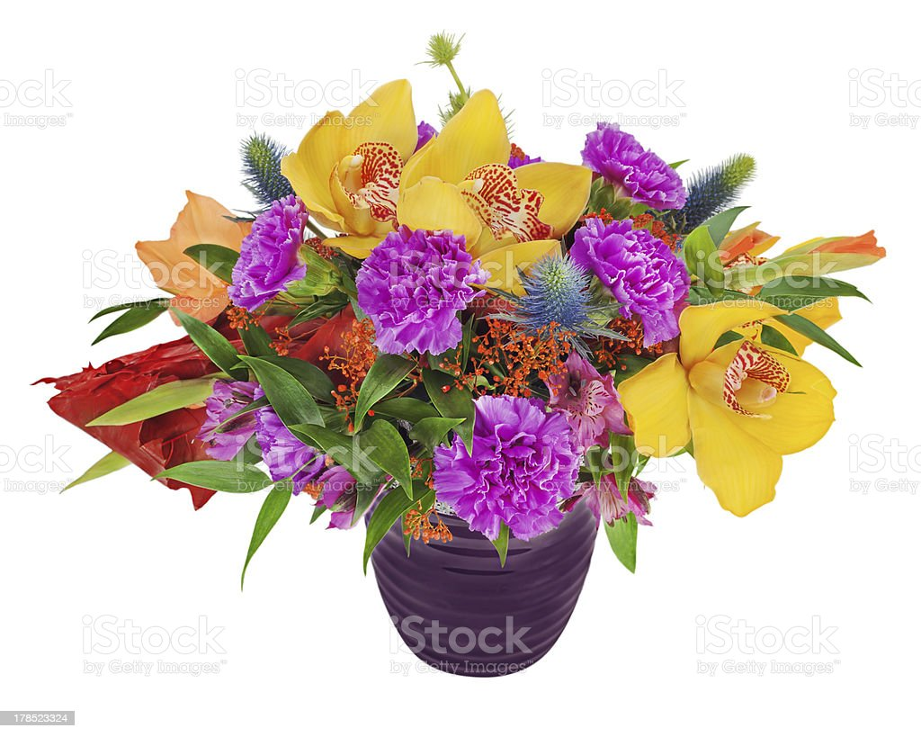 Floral bouquet of orchids, gladioluses and carnation royalty-free stock photo