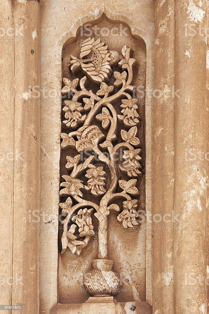 Floral carving on Ishak Pasha Palace, Turkey royalty-free stock photo