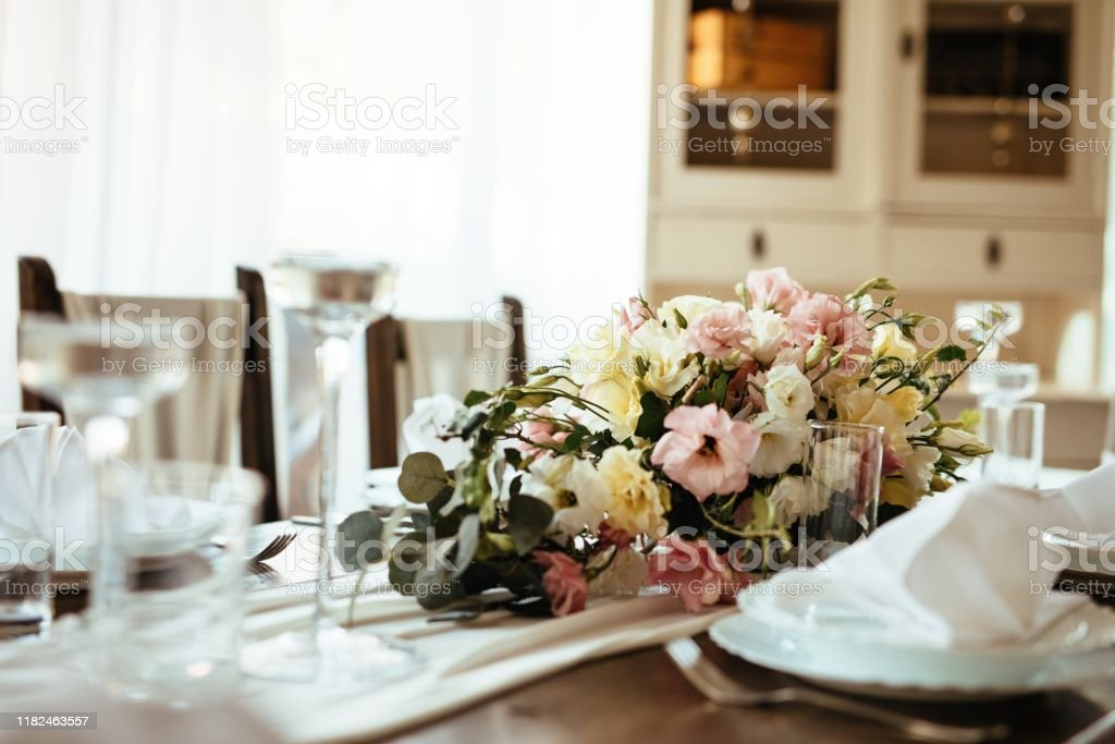 Floral Centerpiece On Wedding Dining Table Stock Photo Download Image Now Istock