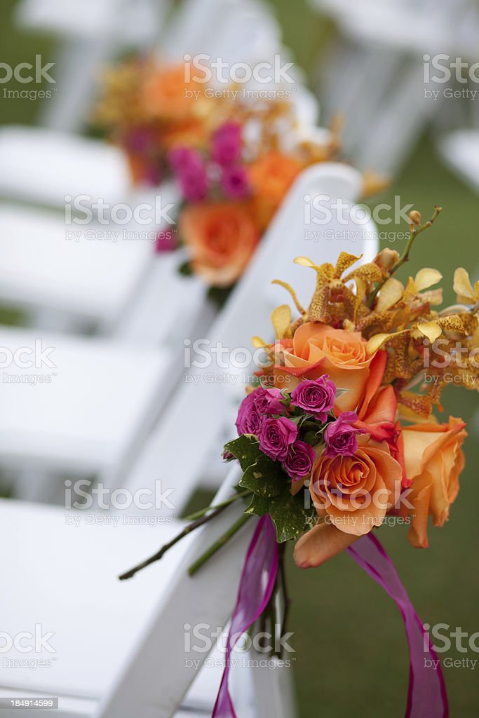 Floral chair decorations royalty-free stock photo