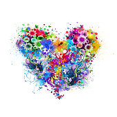 floral colorful heart
