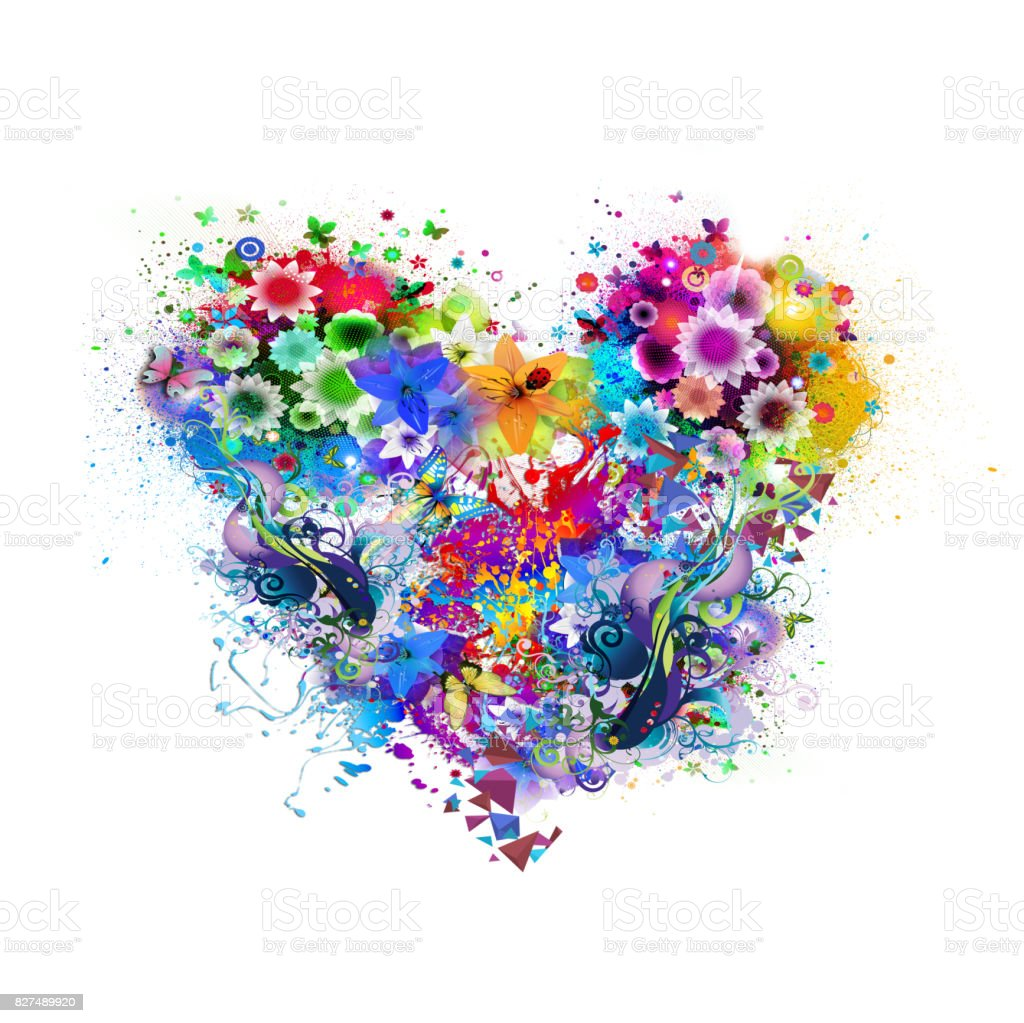 floral colorful heart stock photo