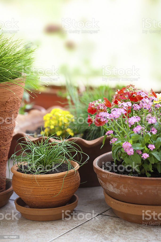 Floral decorated balcony royalty-free stock photo