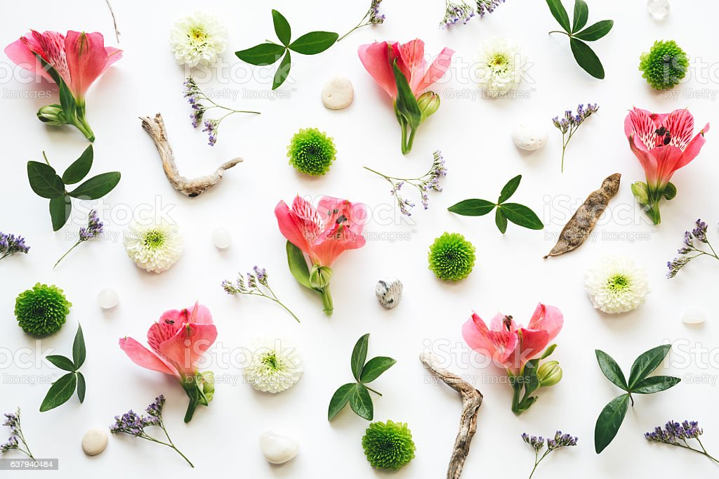 Floral Decoration On White Background stock photo