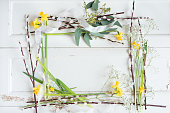 istock Floral decoration on white vintage table 1127767961