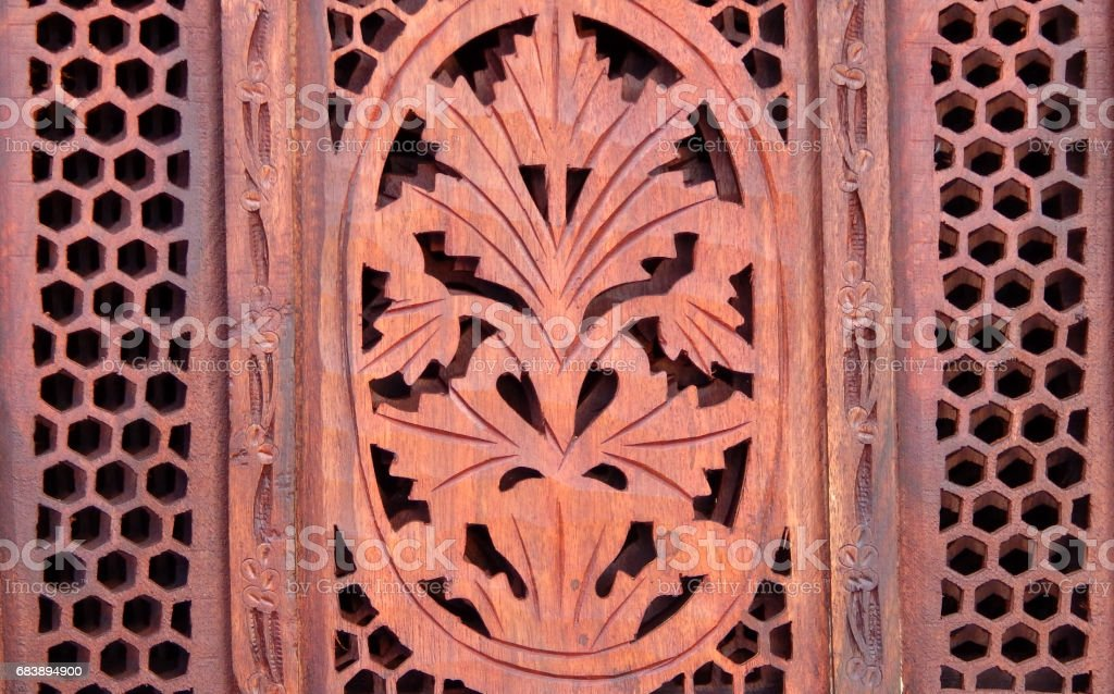 floral design carving on wood background gm