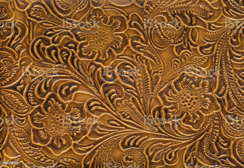 Floral Embossed Leather Background stock photo
