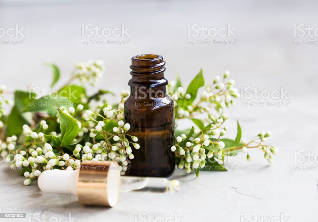Floral Essential Oil Bottle With Dropper White Flowers Essential Oil