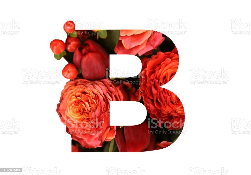 Letra De Fuente Floral B De Unas Rosas Rojasnaranjas Reales