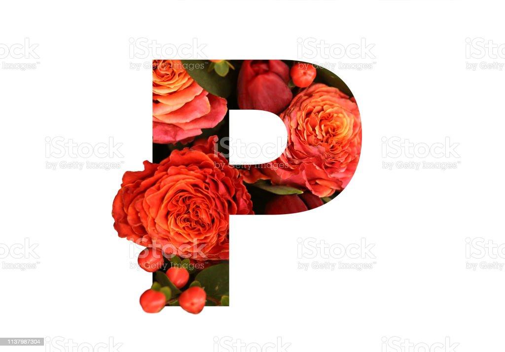 Letra De Fuente Floral P De Unas Rosas Rojasnaranjas Reales
