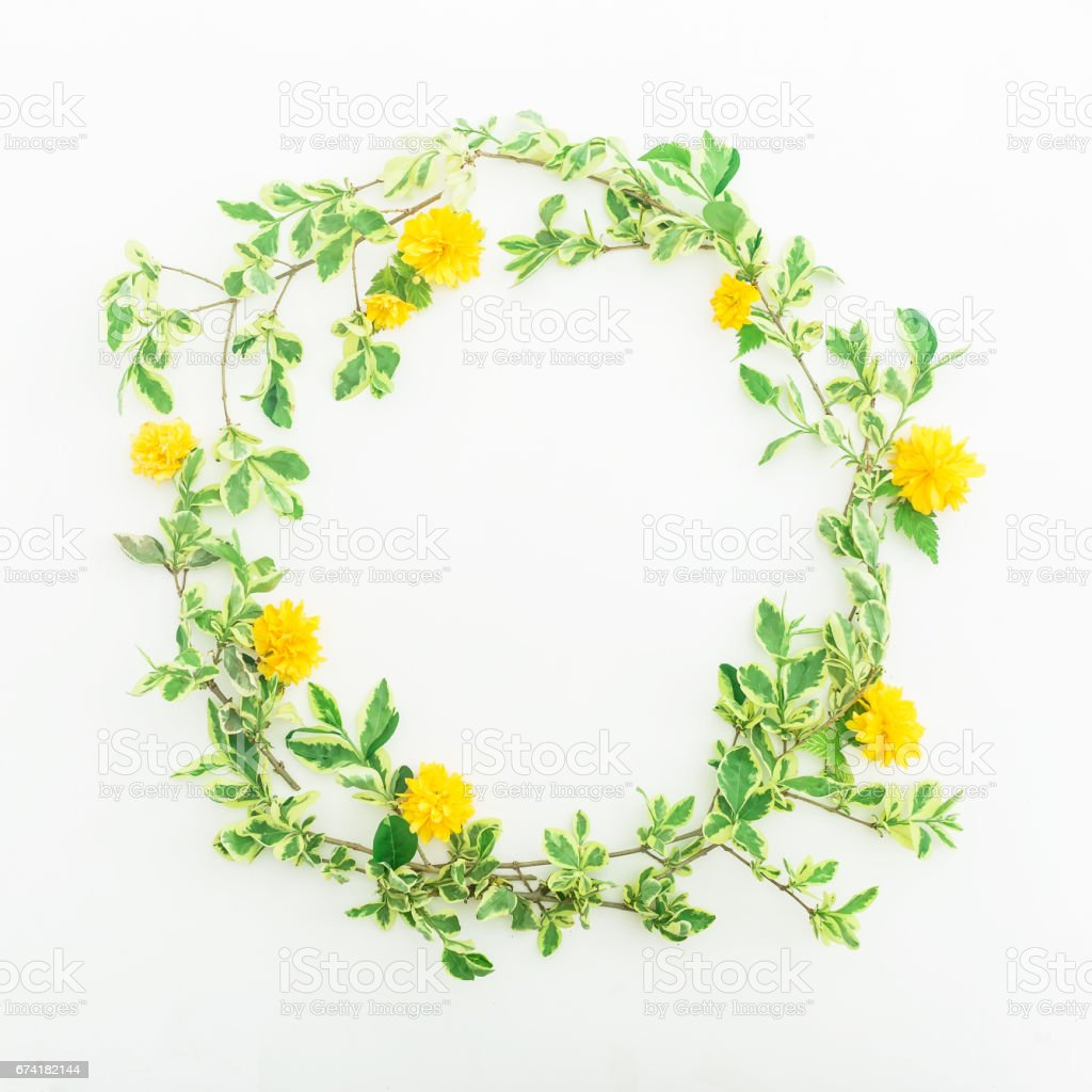 Floral Frame Branches With Leaves And Yellow Flowers On White