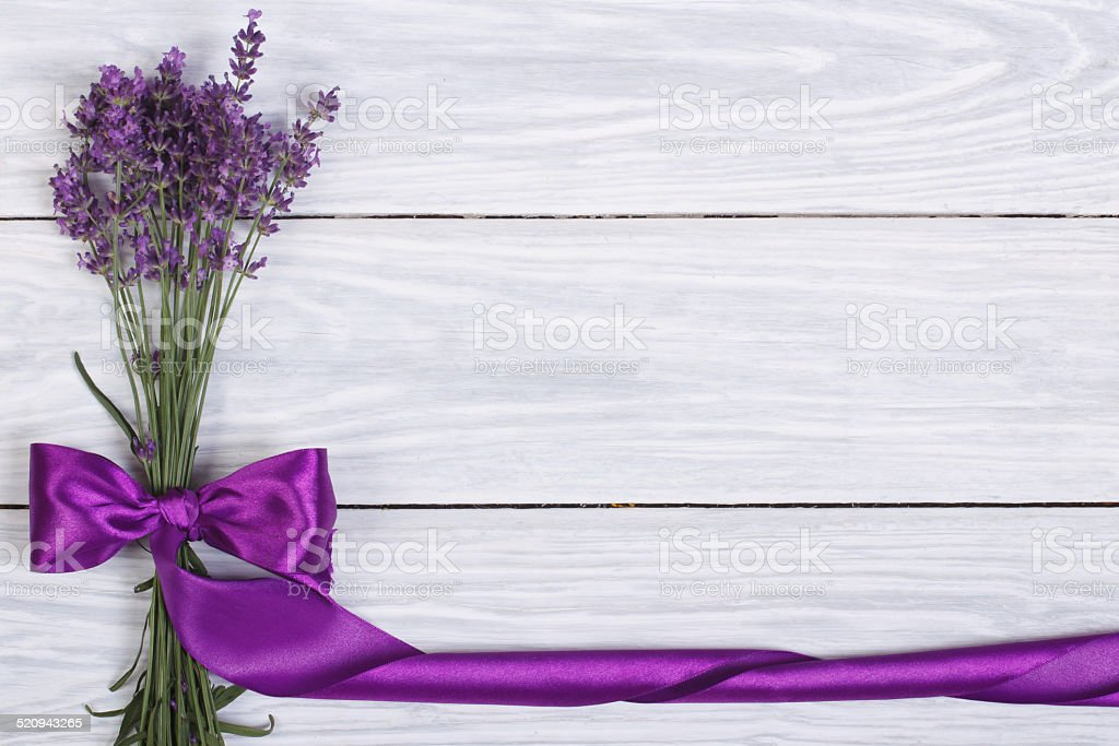 floral frame from flowers of lavender and purple ribbon stock photo