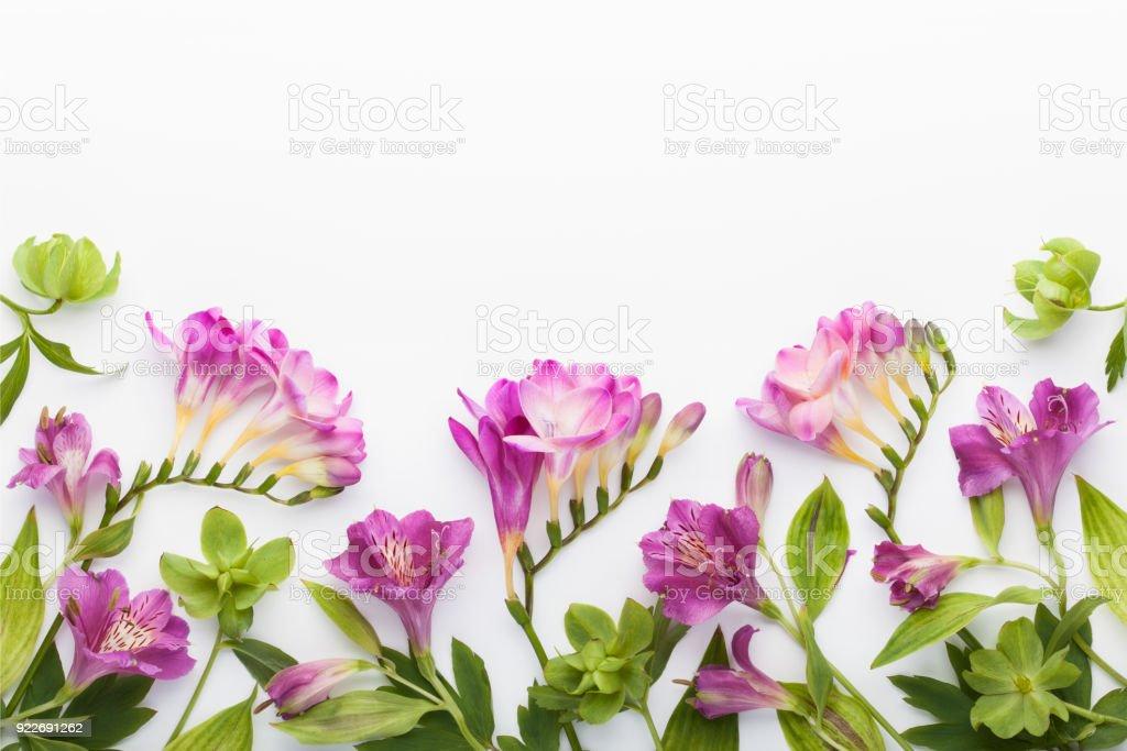 花框架由 alstroemerias, 小蒼蘭花和綠葉在白色背景。圖像檔