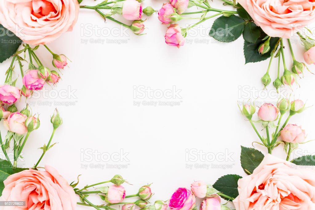 Floral Frame Of Pink Roses And Paper Card For Calligraphy On White ...