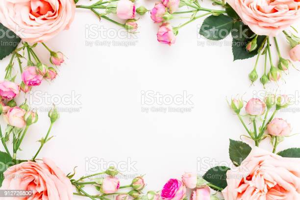 Floral frame of pink roses and paper card for calligraphy on white picture id912726800?b=1&k=6&m=912726800&s=612x612&h=7rlu2jzalnwp4p5upwuevj f3zwynxwzjxqmp55cox4=