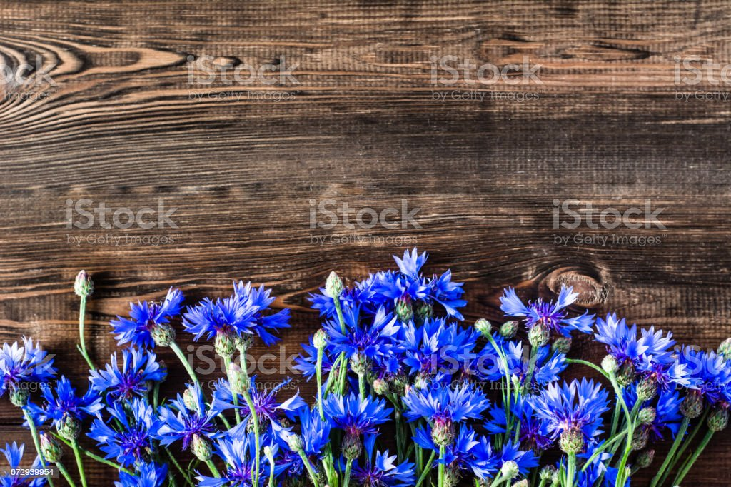 Floral frame with blue flowers selected on wooden background stock photo