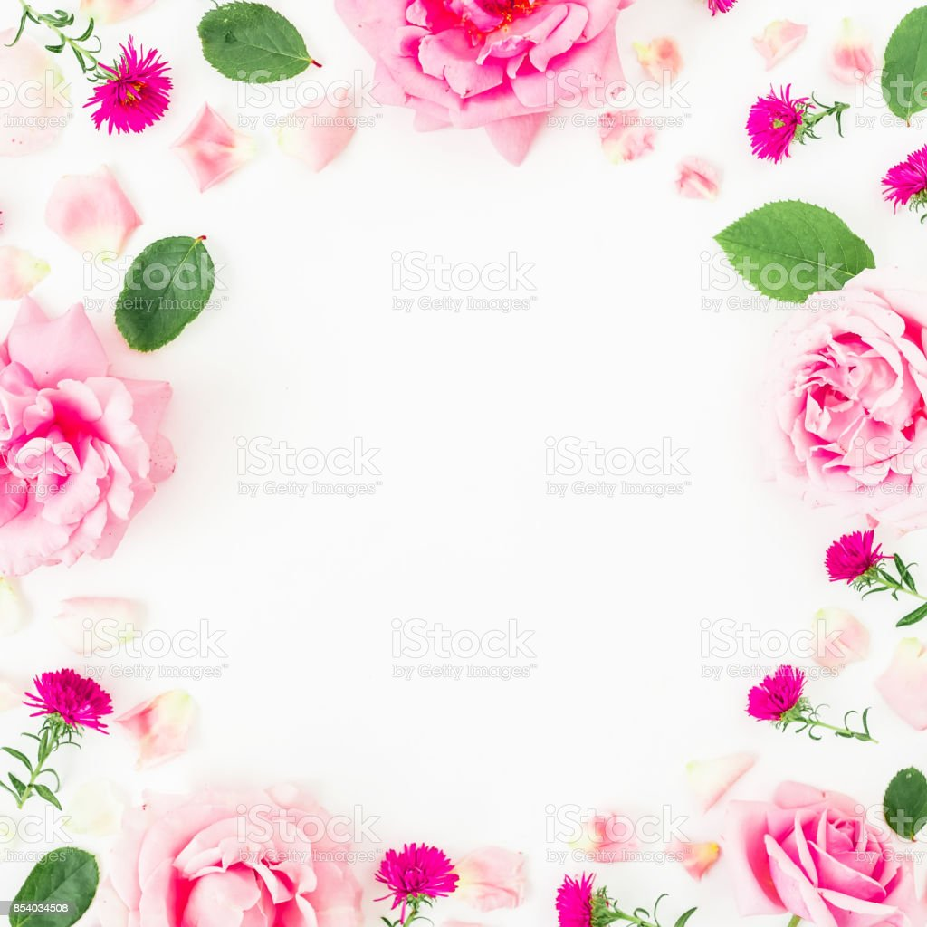 Floral Frame With Pink Flowers Petals And Leaves On White Background