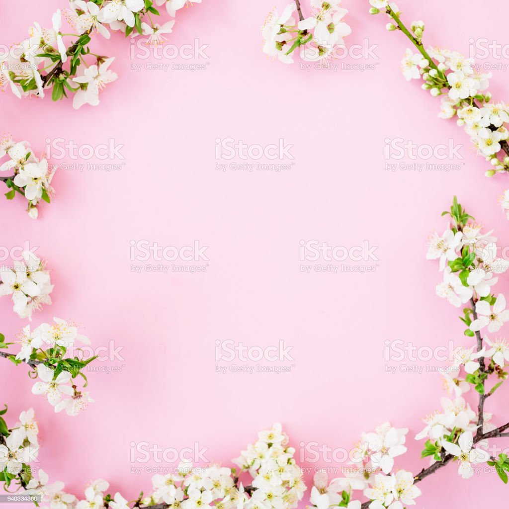 Floral Frame With Spring Flowers Isolated On Pink Background Flat