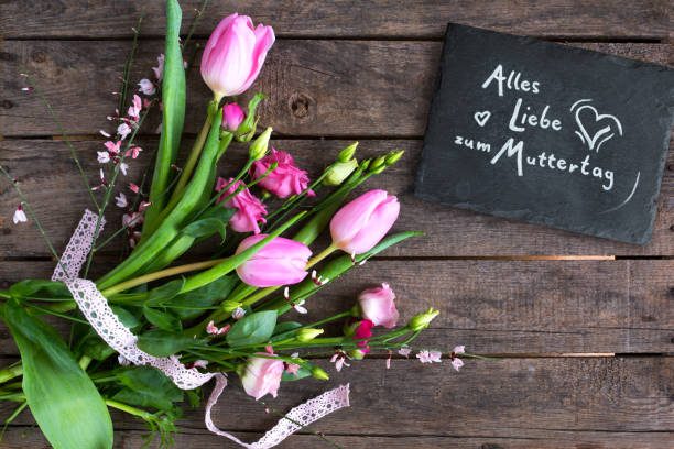 Floral greetings for mothers day stock photo