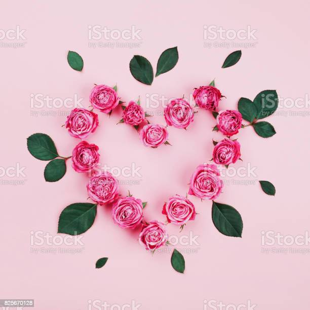 Floral heart made of pink rose flowers and green leaves flat lay picture id825670128?b=1&k=6&m=825670128&s=612x612&h=0bnbaxuekcci79wfw5af4uryvohq5a5qrj8kcjp5tdi=
