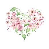 Floral heart with spring flowers and leaves