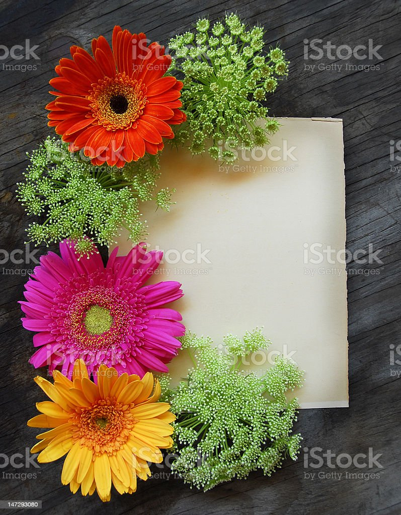 Floral letter on old wood stock photo