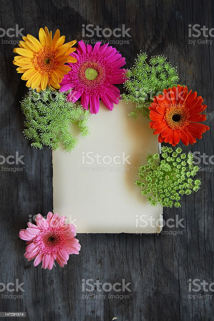 Floral letter on weathered wood stock photo