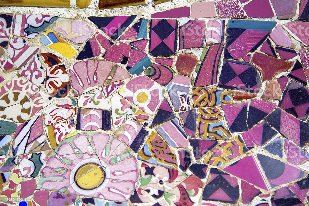 Floral mosaic in Park Guell, Barcelona, Spain royalty-free stock photo