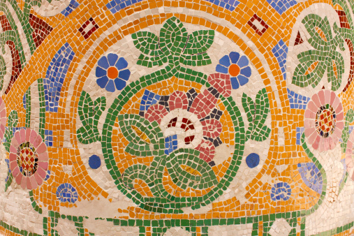 Floral mosaic. Palace of Catalan Music. Barcelona
