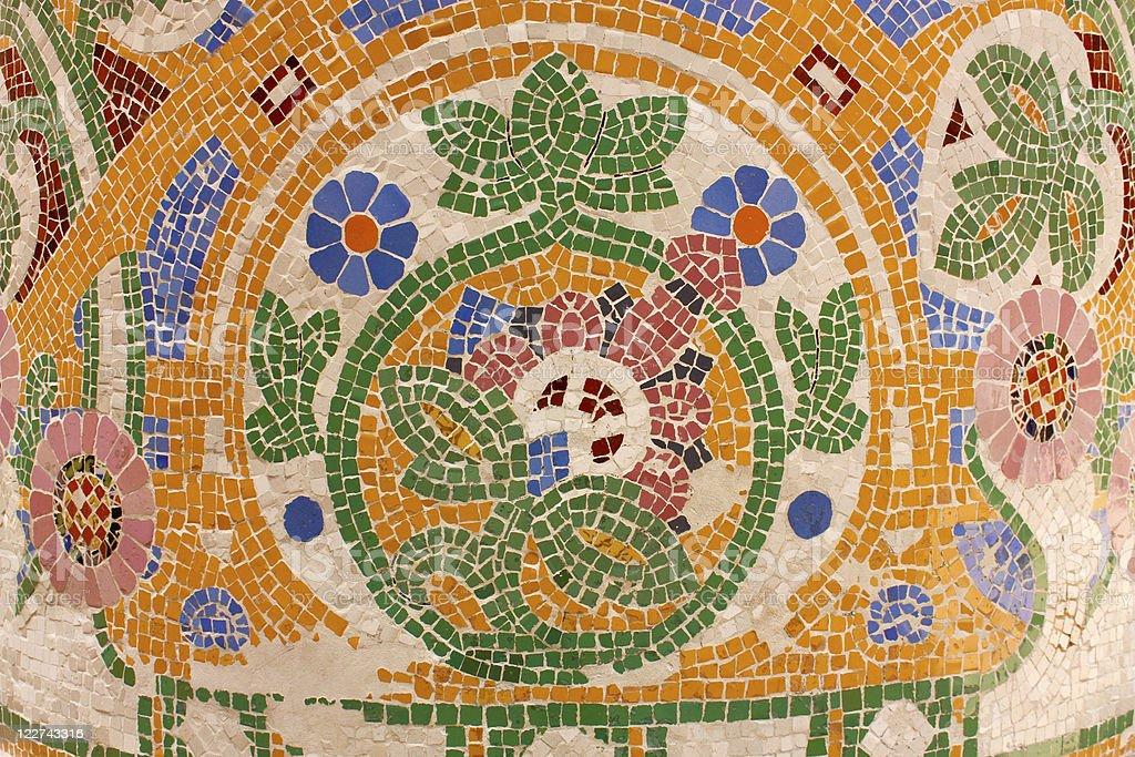 Floral mosaic. Palace of Catalan Music. Barcelona stock photo