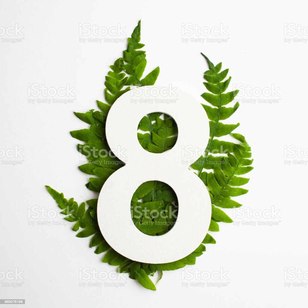 Floral number eight. Beautiful green leaves and fern foliage numbers. royalty-free stock photo