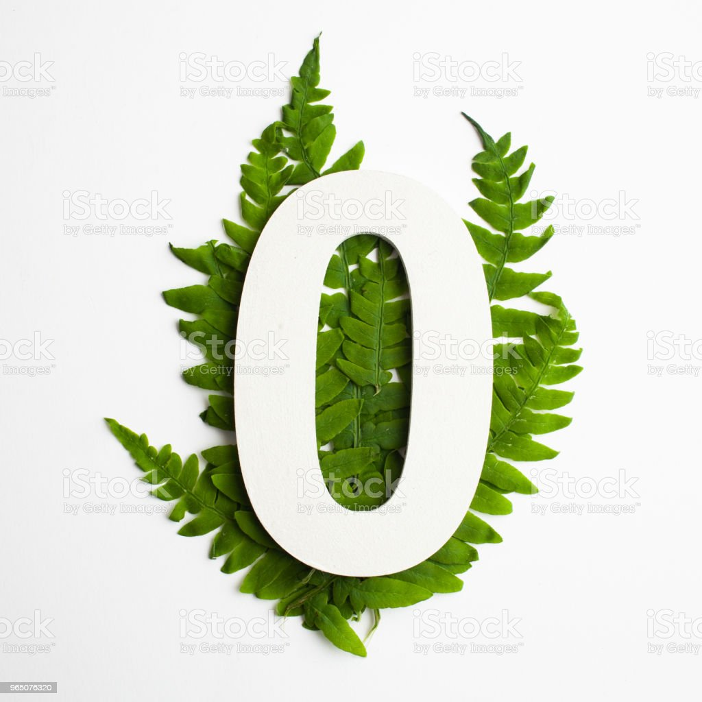 Floral number zero. Beautiful green leaves and fern foliage numbers. zbiór zdjęć royalty-free