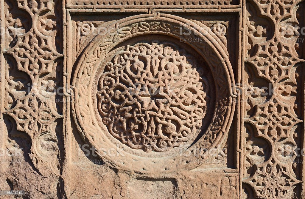 Floral ornamental knotworks of armenian cross stones,khachkars,christian art stock photo