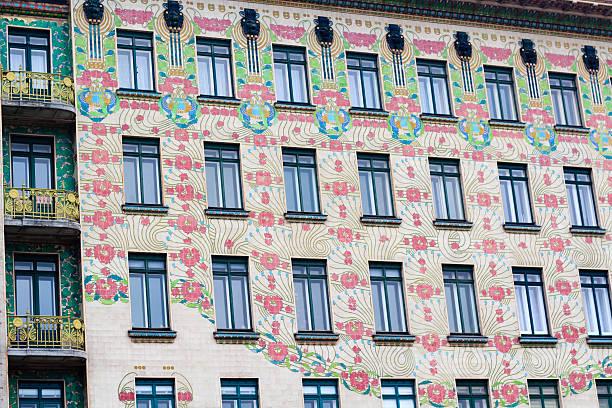 floral ornated fassade, wien - naschmarkt stock-fotos und bilder