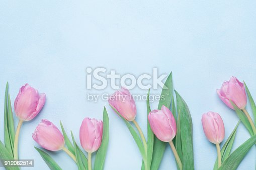 659293084istockphoto Floral pattern for March 8, International Womans or Mothers day. Beautiful spring tulip flowers. Top view. 912062514