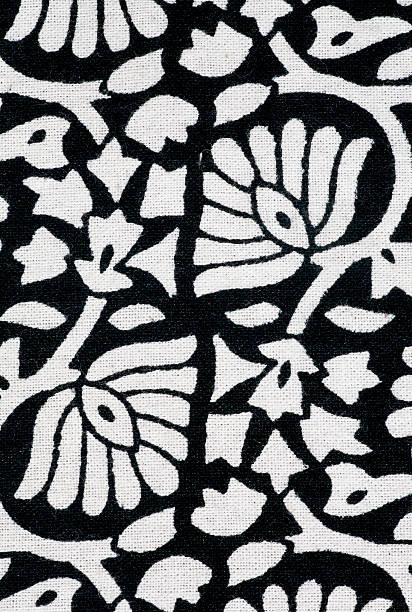 floral pattern, hand-made style of stamping ink in india - blumendrucktapete stock-fotos und bilder