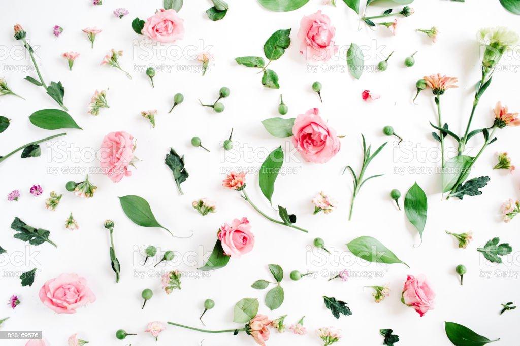 Motif floral de roses roses et beiges - Photo