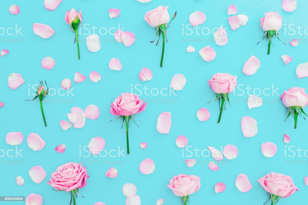67335e9a6a245 Floral pattern made of pink roses buds and petals on blue background. Flat  lay
