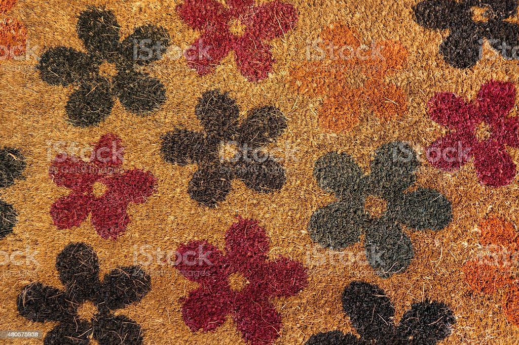 Floral pattern of a coconut matting stock photo