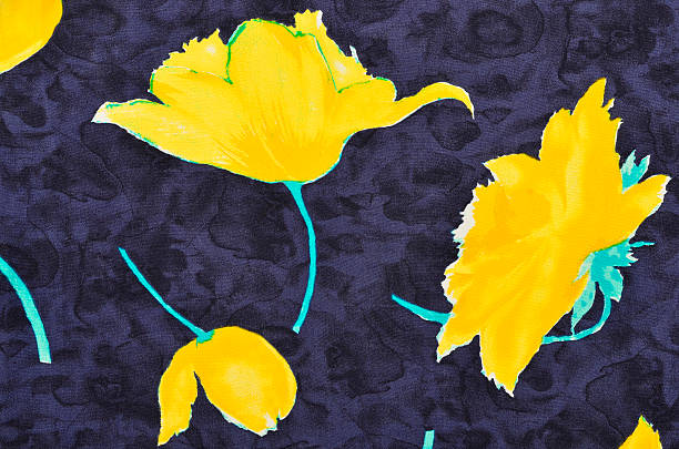 Floral pattern on blue fabric. stock photo