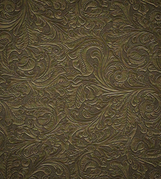 floral pattern on faux leather stock photo